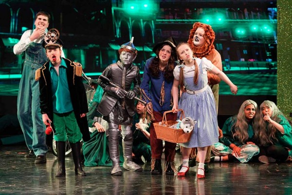 Students in a theatre production of Wizard of Oz