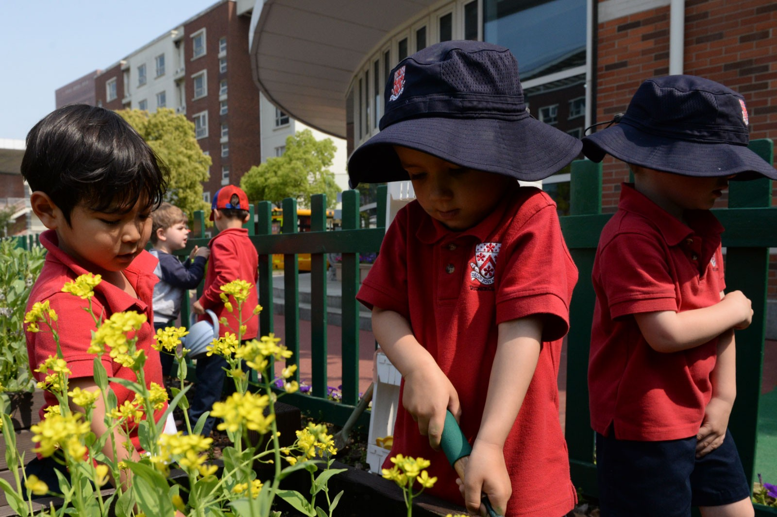 Students in Dulwich's Early Years School taking part activity outdoors